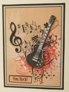 Guitar and Music Decoupage on Craftsuprint designed by Sandie Burchell - made by Kristina Norbat - Printed on good quality matt photo paper mounted with a foam tape onto a white cord card added tiny gold dots on the quitar to finish. - Now available for download!