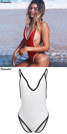 93af7af173ad FANALA 2017 Sexy Summer Beach Bodysuit Women V-Neck Sleeveless Solid  Backless Spaghetti Straps Jumpsuit