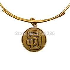 Antique Bronze Vintage Style Alloy San Diego Padres Logo Charms Bracelet Bangles Accessories
