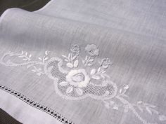 Hemstitched embroidery white Bath Towels & hand towels