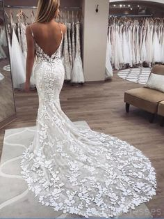 Wedding Dresses Lace Open Back Chic Spaghetti Strap Backless Lace Applique Beaded Mermaid Wedding Dre dressystyles.Wedding Dresses Lace Open Back Chic Spaghetti Strap Backless Lace Applique Beaded Mermaid Wedding Dre dressystyles Lace Bridal, Lace Mermaid Wedding Dress, Mermaid Dresses, Bridal Gowns, Wedding Dress Train, Backless Lace Wedding Dress, Gown Wedding, Ivory Wedding, Tulle Wedding