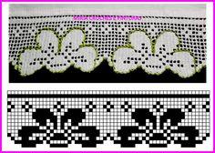 Barradinhos em crochê para toalhas de banho e panos de copa.