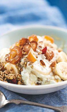 Hyvän yön rahka | Reseptit | Anna.fi Mashed Potatoes, Chili, Deserts, Food And Drink, Soup, Vegetarian, Favorite Recipes, Baking, Breakfast