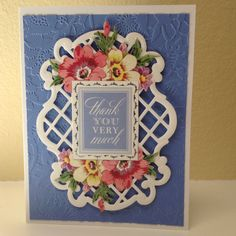 Anna Griffin lace embossing folder, lattice die and salutation