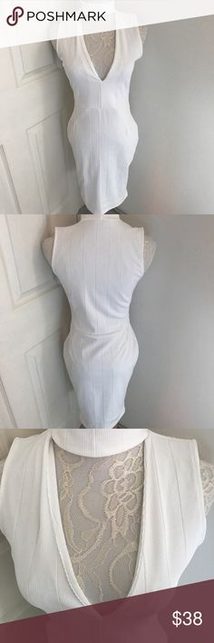 """Missguided Bodycon Choker Bandage White Dress Size 2 USA Color white New without tags  Length 35"""" Pit to pit 17""""  Stretchy Dress on model is not same dress style but similar style Missguided Dresses"""