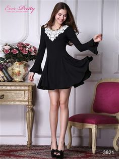 Long Sleeve Crocheted Neckline Full Skirt Black Casual Dress - Ever-Pretty US