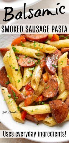 Beef Smoked Sausage Recipe, Kilbasa Sausage Recipes, Chicken Sausage Recipes, Sausage Recipes For Dinner, Smoked Sausage Pasta Recipes, Smoked Sausage Hash, Healthy Sausage Recipes, Sausage Meals, Kielbasa Pasta Recipes