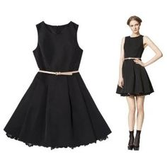 Jason Wu for Target Flared Dress in Black with Nude Patent Belt