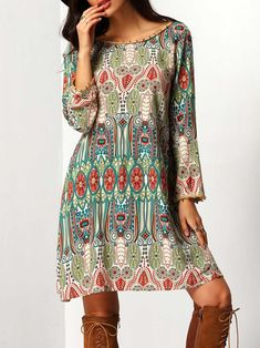 Long Sleeve Dresses. Short Tunic Designed with Boat Neck. Perfect choice for Boho wear. Geometric design. Trend of Spring-2018, Fall-2018. Designed in Multicolor.