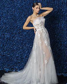 A-line Strapless Chiffon Court Train Wedding Dresses  Easebuy! Free Measurement!