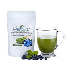 Blueberry Matcha Green Tea Powder Organic Japanese Culinary Matcha Tea w/ Natural Blueberry Extract- Great for Tea, Smoothies or Latte - 3.5 oz ** Read more  at the image link.