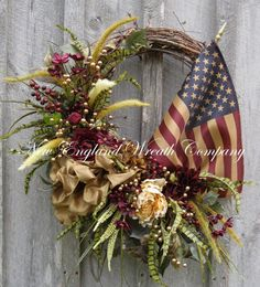 Patriotic Woodland Garden Wreath with Tea Stained Flag by NewEnglandWreath