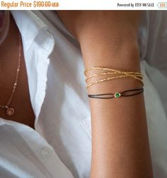 This essential triple wrap bracelet is made with the tiniest faceted 24 k gold vermeil beads. These beads are very difficult to make because of their size but the result is a fireworks of sparkle! It will wrap around your wrist three times. Please make sure about the default sizing which is 19 inches or 49cm. If you need it longer or shorter, just leave us a message in the box to seller during checkout out.  Details: 24k gold vermeil ( pure silver beads dipped in 24k gold) 3 microns Length…