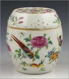19thC Antique Chinese Famille Rose Porcelain Barrel Form Container