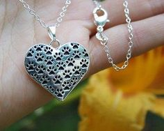 Charm Necklace - .925 Sterling Silver Chain - Multi Paw Prints Pendant - Pet Dog Cat Paws Print Heart Gift