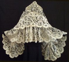 Silk lace wedding shawl, c.1860, from the Vintage Textile archives.
