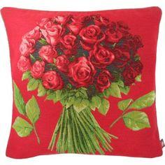 Bouquet de rose coussin jacquard tissé en France par Tissage Art de Lys
