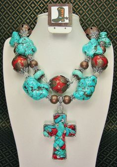 TURQUOISE / CORAL Chunky Western Cowgirl by CayaCowgirlCreations, $58.50