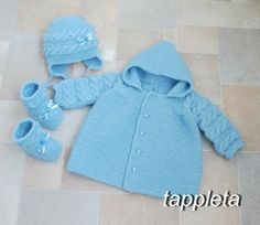 #babyboy set #blue knitted #jacket with a hood hat and от #tappleta
