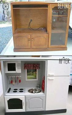 Make a play kitchen from an old entertainment center