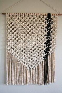 Macrame, wall hanging, wall decor, fiber art, in cotton natural and black