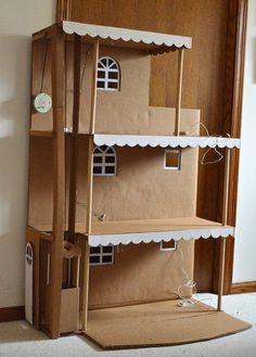 ikat bag: cardboard house, modeled after a Barbie townhouse Cardboard Dollhouse, Cardboard Furniture, Cardboard Crafts, Diy Dollhouse, Doll Furniture, Cardboard Playhouse, Furniture Design, Barbie Doll House, Barbie Dolls