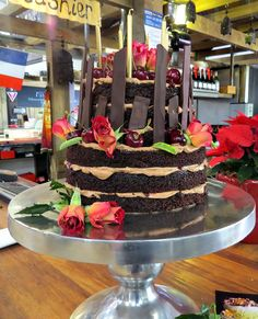 Dark moist chocolate cake & Christmas cherries -  and red roses by Florabunda & Cake