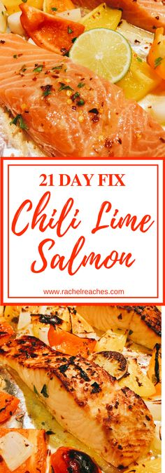 This sheet pan chili lime salmon is a zesty dish ready to fit your 21 Day Fix goals at any time of year! And it's QUICK - most of the time is spent letting the fish & veggies marinate. I love the heat of the red chili pepper flakes but you can totally to 21 Day Fix Salmon Recipe, Salmon Recipes, Fish Recipes, Seafood Recipes, Recipies, 21 Day Fix Vegetarian, Vegetarian Recipes, Cooking Recipes, Healthy Recipes