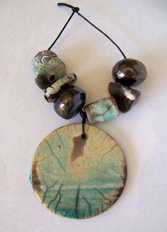Raku pendant and bead set turqoise copper by EarthbutterStudio, $16.50