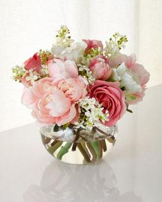 Wedding Flower Arrangements John-Richard Collection First Blush Faux Floral - EXCLUSIVELY AT NEIMAN MARCUS Handcrafted nosegay arrangement of roses, peonies, and lilac sprays. x 9 T. Faux Flowers, Fresh Flowers, Silk Flowers, Beautiful Flowers, Floral Flowers, Fabric Flowers, Flowers In A Vase, Indoor Flowers, Flowers For You