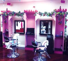 When you walk into Reflections Hair Gallery For Kids, you may think you have entered a magical fairytale-land instead of a hair salon. Kids Barber Shop, Kids Hair Salon, Hair Salon Chairs, Nail Room, Pamper Party, Bottle Charms, Unicorn Hair, Salon Design, Hair Salons