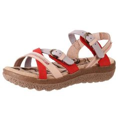 Leather cushioned sandals with arch support. Comfortable for walking - red pink and lilac | The Shoe Link
