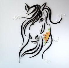 "Arte Quilling original ""Caballo oscuro"" colorido papel arte, arte de la pared, enmarcado, pared Deco, gran tamaño 50x50cm"