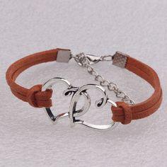 Double Heart Velvet Rope Woven Bracelet