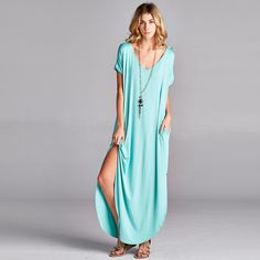 So Oversized, Short Sleeve Solid Maxi Dress with Pocket