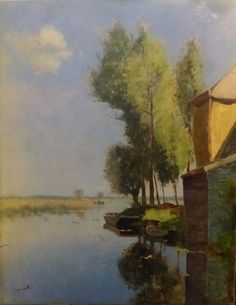 Beautiful #oil on #canvas representing a country #landscape. #Signed. Belgium, early #20th century. For sale on Proantic by Galerie Roma.