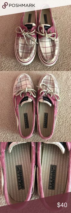 Women's Sperry Top-Sider boat shoes Women's Sperry Top-Sider pink and gray boat shoes. Worn several times, but in great condition! Size 6. Perfect for spring and summer! There is a slight discoloration around edge of each shoe, shown in pictures. But could possibly come off with shoe cleaner. Sperry Shoes Flats & Loafers