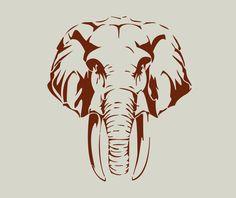 Eléphant. Tête d'éléphant. Pochoir en vinyle adhésif (ref 150) : Décoration d'intérieur par larabesque