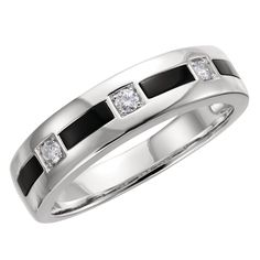 Stunning 14 Karat Gold Onyx & 1/6 Carat Diamond 6mm Wedding Band Ring by VincentsFineJewelry on Etsy