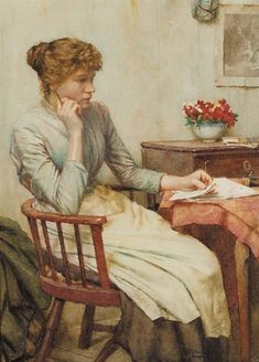 ☆ In Doubt :¦: By Artist Walter Langley ☆ {like the chair}