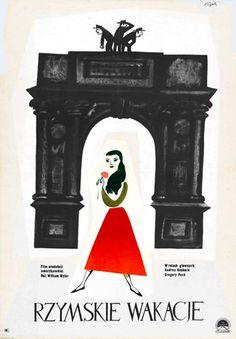 """Jerzy Flisak (1930-2008) – polski rysownik, ilustrator, autor plakatów, scenograf 1959 """"Roman Holiday"""", US 1953. Directed by William Wyler"""