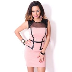 Pink & Faux Leather Pencil Dress #mesh #bodycon #partydress