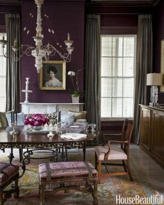 Dark Purple Dining Room #homedecor