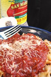 This is great marinara! It starts out very thick and goes in the crock pot -- no need to boil it down and it doesn't burn. And it's fabulous!