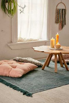 Shop Tompkins Printed Rug at Urban Outfitters today. We carry all the latest styles, colors and brands for you to choose from right here. Meditation Corner, Meditation Space, Zen Room, Floor Seating, Floor Cushions, Giant Floor Pillows, House Rooms, Apartment Living, Decoration