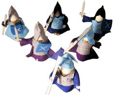 Magic Wood Knight set of 6 blue - Honeybee Toys