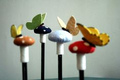 felt toadstool mushroom butterfly pencil topper your by RoyalMint
