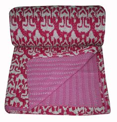 Indian New traditional Hand made Kantha Ikat Print Cotton Bed Cover Boho Bedspread Throw Bedding Quilt Blanket Queen Size Products Cotton Bedding, Quilt Bedding, Bedspread, Kantha Quilt, Quilts, Bombay, Royal Colors, Ikat Print, Vintage Sheets