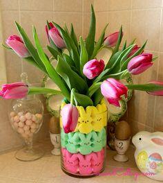 Easter Peeps Floral Arrangement for under $10 at www.Concordcottage.com