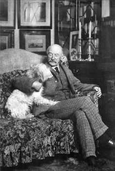 Author and poet Thomas Hardy, OM (1840-1948) in his study at Max Gate, Dorchester, Dorset. He was inspired from childhood at Woodsford Castle, and a summer courting at Clavell Tower.